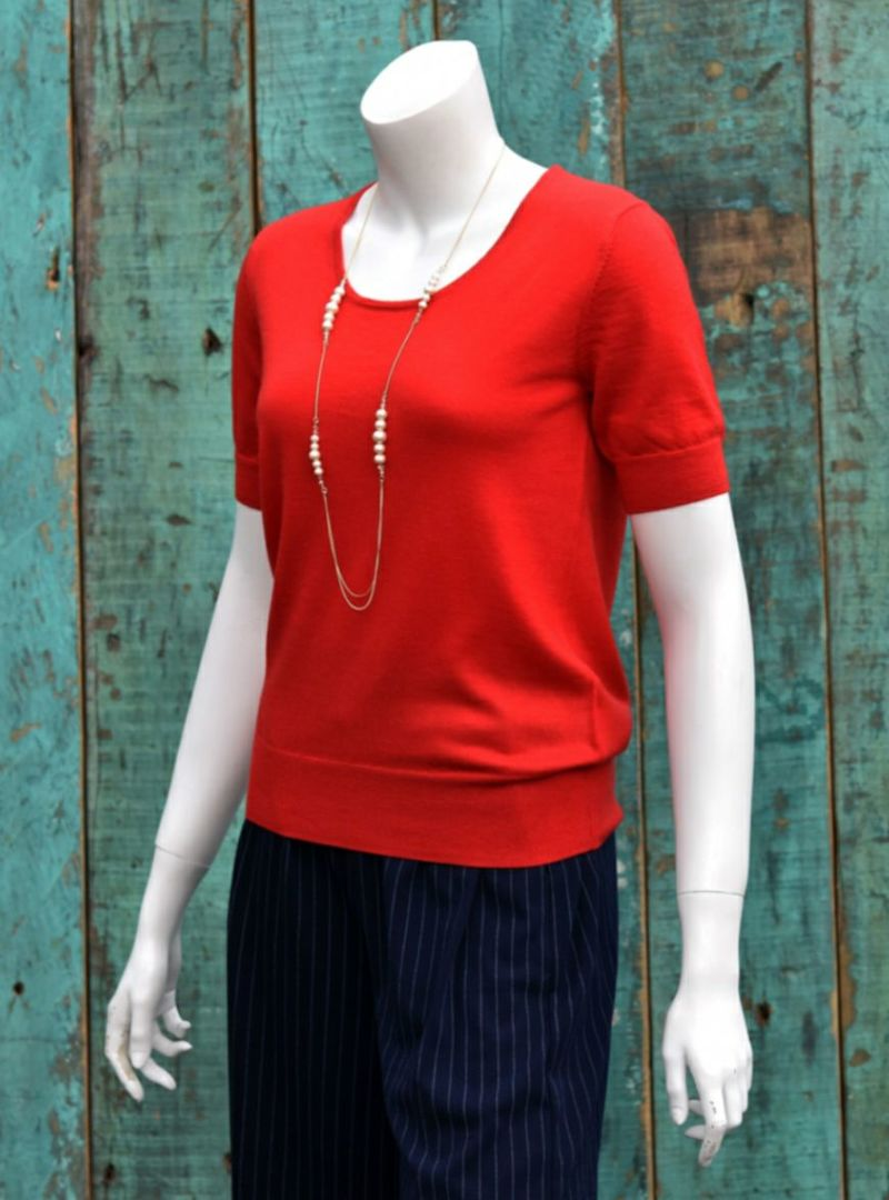 [encolorage] CARIAGGI Cashmere SOFFIO Round-neck harf-sleeve PO/ Red(カリアッジ カシミヤ 丸首半袖プルオーバー/ レッド)