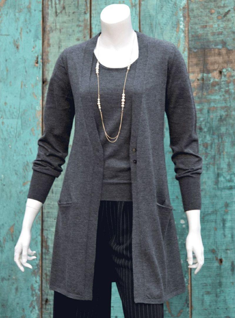 カリアッジ カシミヤ ロングカーディガン/ チャコールグレイ [encolorage] CARIAGGI Cashmere SOFFIO Long Cardigan / Charcoal gray