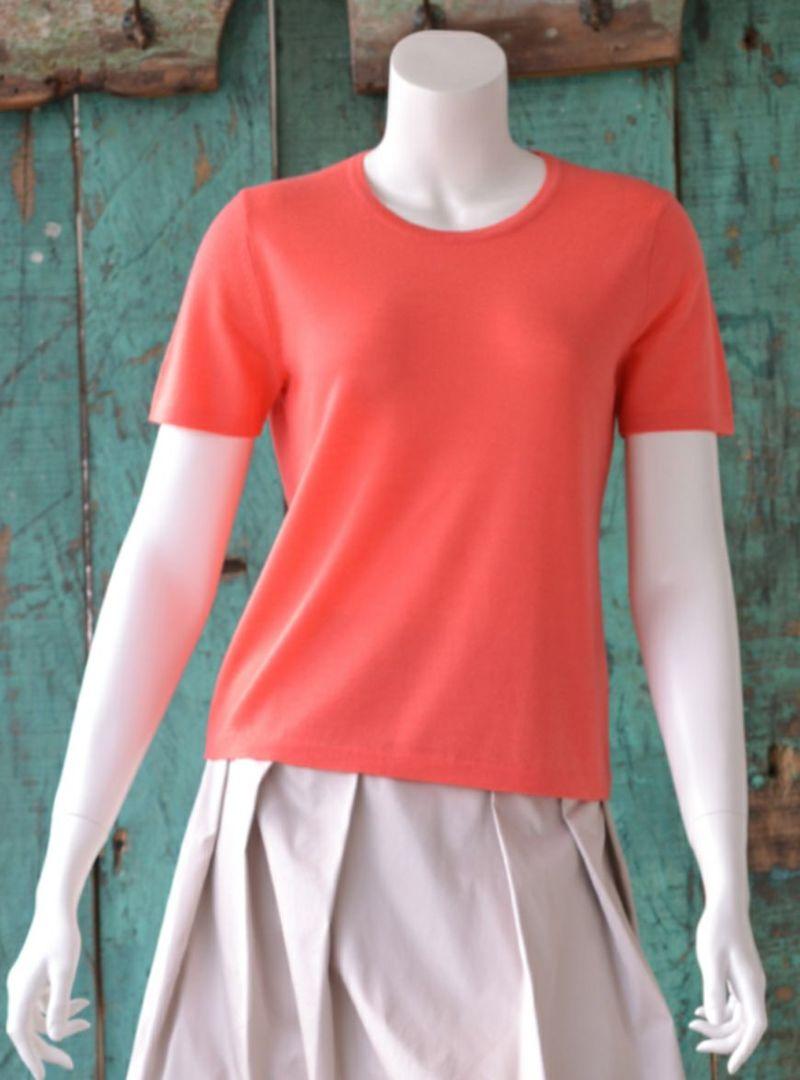 [Primera]100% ALASHAN Cashmere Round-neck Short-sleeve PO / Flamingo(アラシャンカシミヤ100%丸首半袖プルオーバー/フラミンゴ)