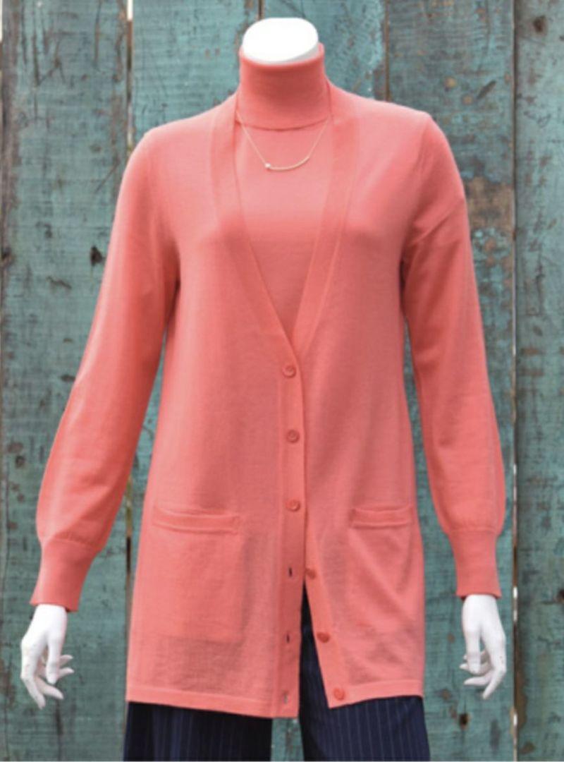 アラシャンカシミヤ100% V首長袖カーディガン/フラミンゴ [Primera]100% ALASHAN Cashmere V-neck Cardigan / Flamingo