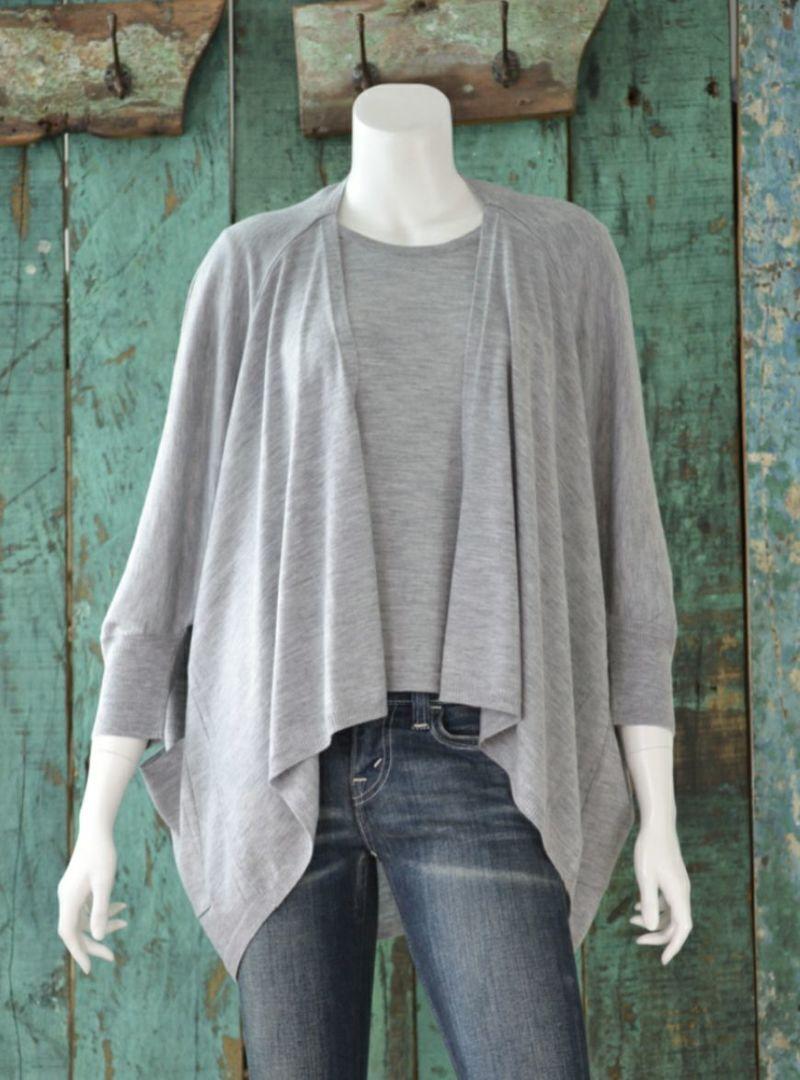 アラシャンカシミヤ100% 羽織りカーディガン/ライトグレイ [Primera]100% ALASHAN Cashmere  Fling-on Cardigan / Light-gray