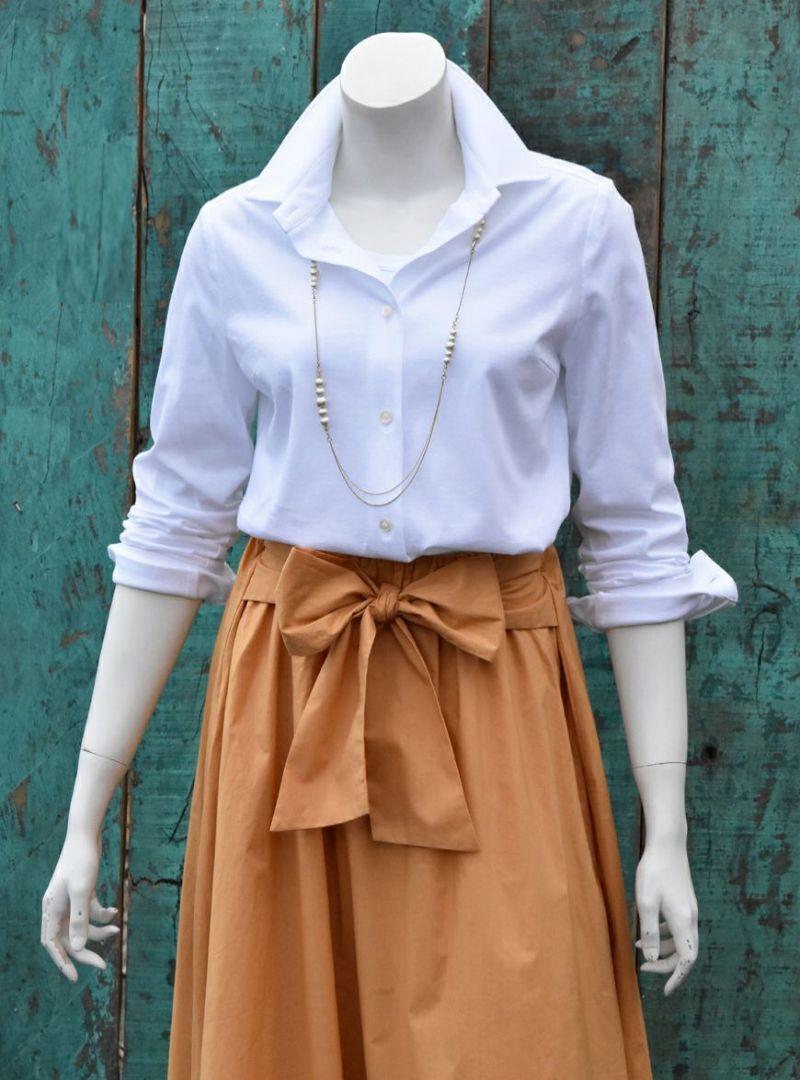 綿100% カットソー 2ウェイブラウス/ホワイト [encolorage] Cotton 100% Cut&Sewn 2WAY Blouse / White