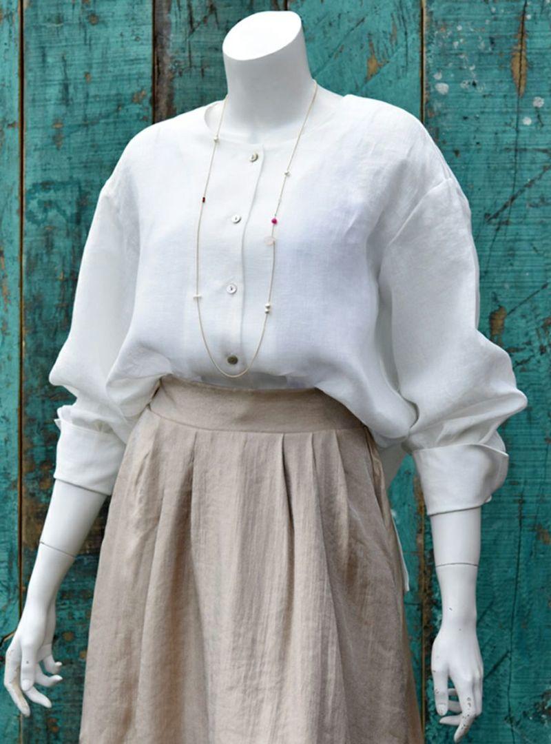 イタリアリネン バルーンスリーブ ブラウス/オフホワイト[encolorage] Italy Linen 100% Balloon sleeve Blouse / Off-White